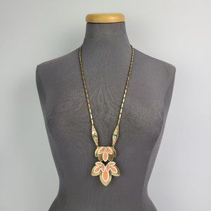 Stella & Dot Hibiscus Coral Flower Necklace